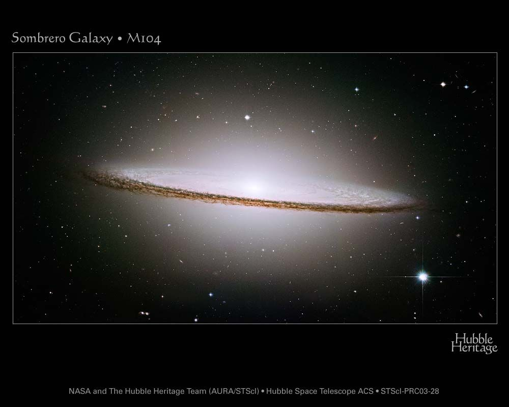 The conservation of angular momentum explains the disk shape of the Sombrero galaxy. © NASA