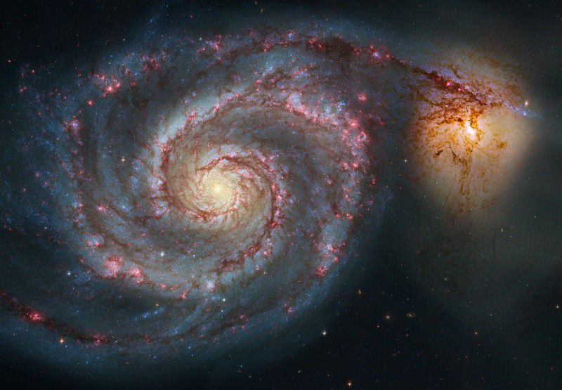 NGC 5194, one of the 13,000 objects in the New General Catalogue, better known as M51, the Whirlpool Galaxy.