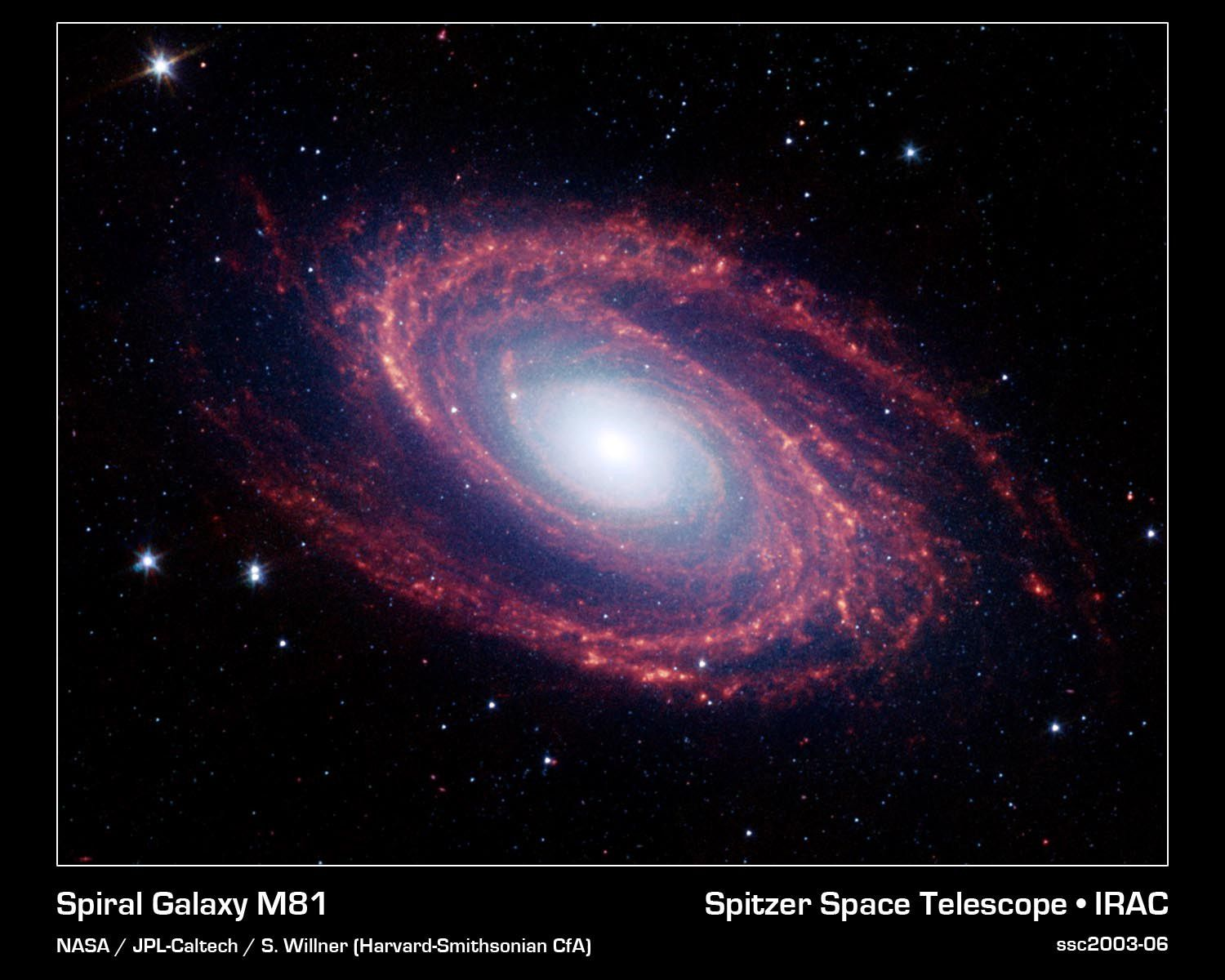 The M81 galaxy as observed by the Spitzer space telescope. Credit NASA