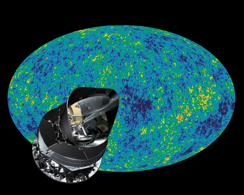 The Planck satellite in front of an image of the CMB. Credit: Esa