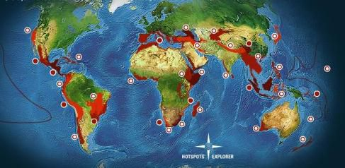 The various hotspots in the world. © Conservation International