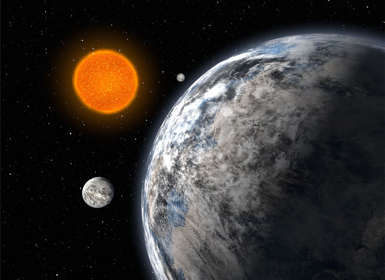 Artist's impression of the trio of super-Earths discovered by a European team using the Harps spectrograph on the ESO 3.6 metre telescope at La Silla, Chile, after five years of observations. The three planets are 4.2, 6.7 and 9.4 times the Earth's mass and orbit around the HD 40307 star with periods of 4.3, 9.6 and 20.4 days respectively. © ESO