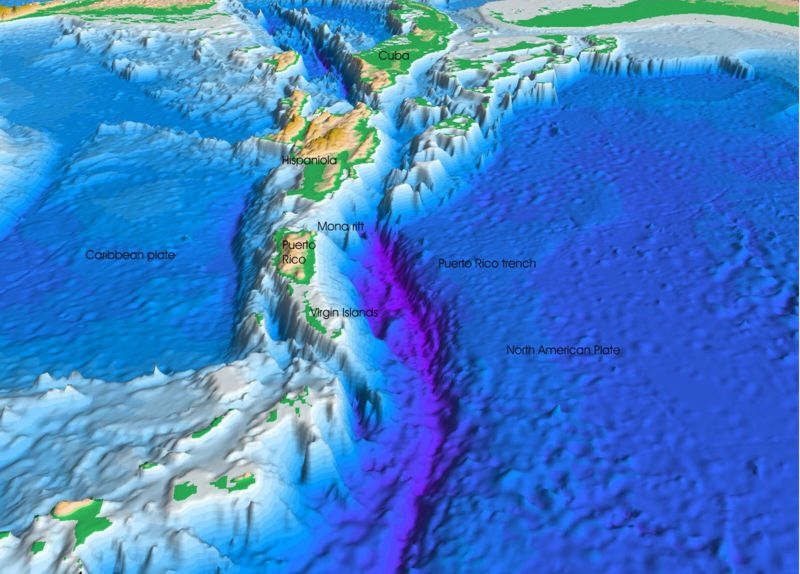 A three dimensional model of the oceanic trench of Puerto Rico. © Woodshole USGS, public domain