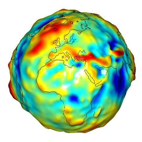 One of the gravity maps provided by GRACE.